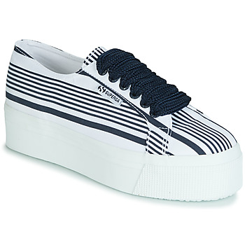 Chaussures Femme Baskets basses Superga 2790 COT MULTI STRIPE W Blanc