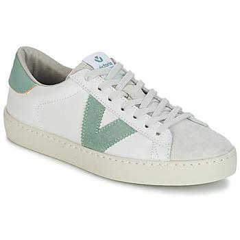 Chaussures Femme Baskets basses Victoria BERLIN PIEL CONTRASTE Blanc / Vert